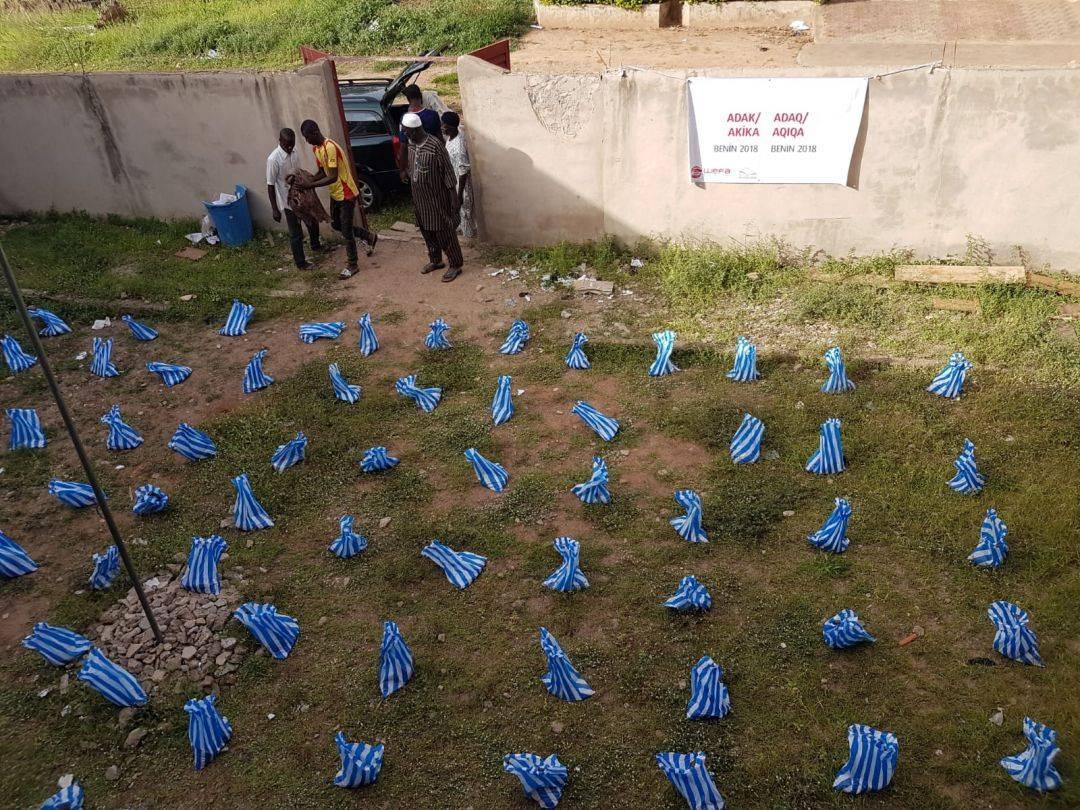 Mayıs ayında hayırseverlerin bağışladığı 10 büyük baş adak ve akika kurbanını Benin'in üç farklı bölgesinde kesen WEFA, kurbanlardan elde edilen etleri yoksul öğrencilere, yetimlere, yaşlılara ve kimsesizlere ulaştırdı.