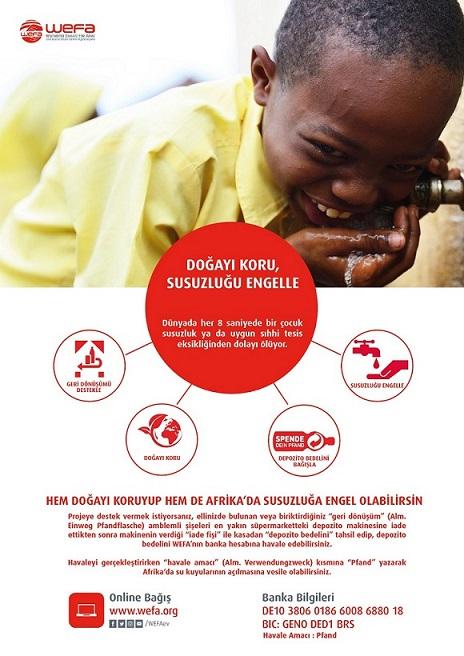 """WEFA Uluslararası İnsani Yardım Organizasyonu hayata geçirdiği """"Doğayı Koru, Susuzluğu Engelle"""" projesi ile hem doğanın korunmasına hem de Afrika insanının suyla kavuşmasına vesile oluyor."""