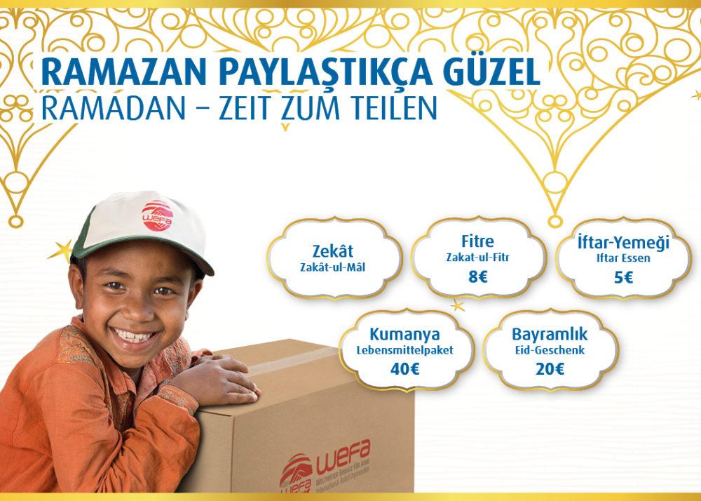 """Es ist von besonderer Bedeutung, in dieser gesegneten Zeit, den Armen zu gedenken und die frohe Botschaft der Liebe zu vermitteln. Dies hat die international agierende Hilfsorganisation WEFA e.V. 2018 zum Anlass genommen, um ihr Ramadanprojekt """"Ramadan – Zeit zum Teilen!"""", zu etablieren."""