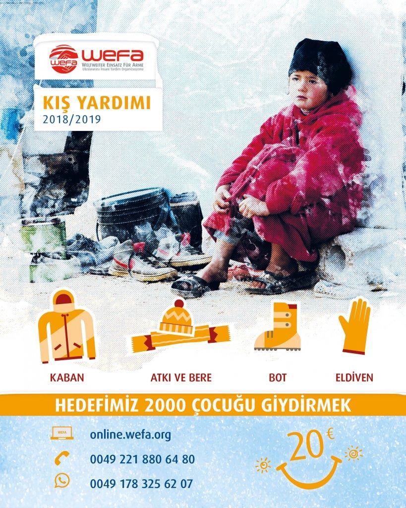 """Türkiye'deki çocukları sevindirmeye hazırlanan WEFA, başlattığı """"Kış Kampanyası"""" ile Türkiye'deki muhtaç 2000 çocuğa kışlık giyecek yardımında bulunacak."""