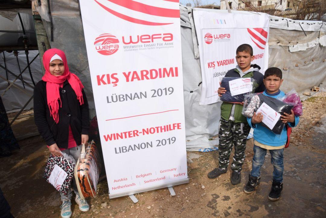Lübnan'da kış yardımları gerçekleştiren WEFA Uluslararası İnsani Yardım Organizasyonu muhtaç ailelere ve çocuklara kış yardımında bulundu.