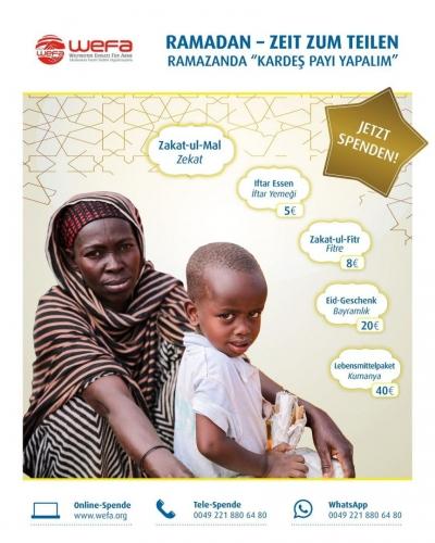 Die internationale Hilfsorganisation WEFA, die Hauptsitzt in Köln hat, führt seit 12 Jahren Ramadan-Projekte durch, um Bedürftigen weltweit einen schönen Ramadan zu ermöglichen. WEFA lässt Hilfsbedürftige überall auf der Welt auch im Ramadan nicht im Stich.