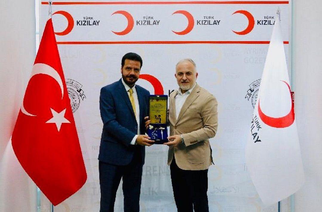 Türk Kızılay Genel Başkanını ziyaret eden WEFA Uluslararası İnsani Yardım Organizasyonu Genel Başkanı WEFA'nın çalışmaları hakkında bilgiler aktardı.