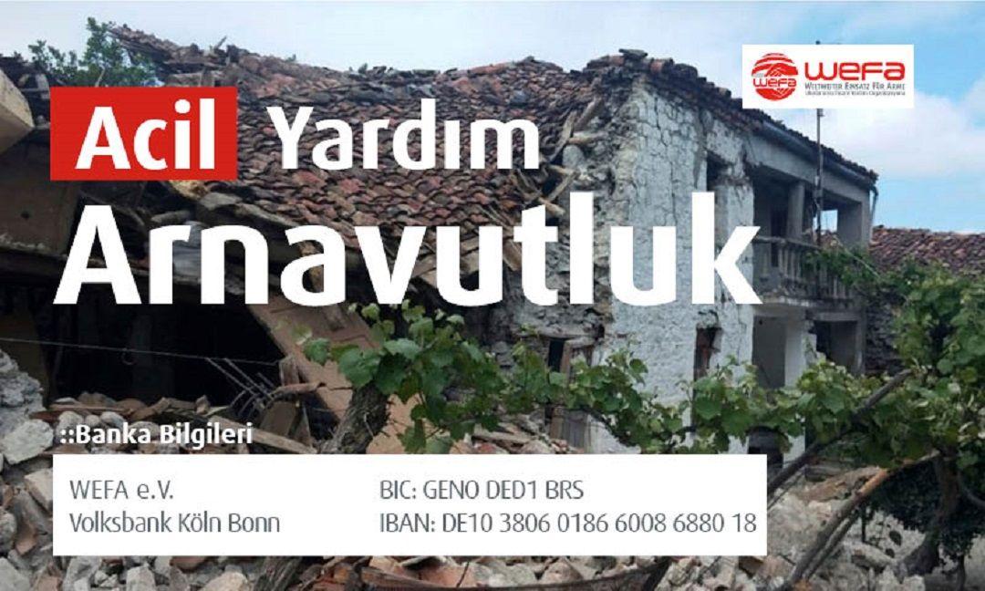 """Arnavutluk'taki depremzedeler için WEFA """"Acil yardım"""" kampanyası başlattı."""