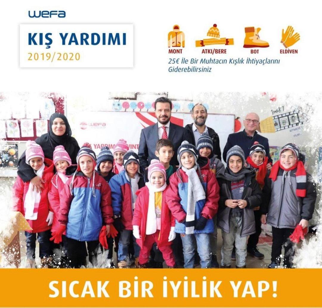 Türkiye'deki öğrencilere ve yoksul ailelere WEFA Uluslararası İnsani Yardım Organizasyonu tarafından bu sene de kış yardımı ulaştırılacak.