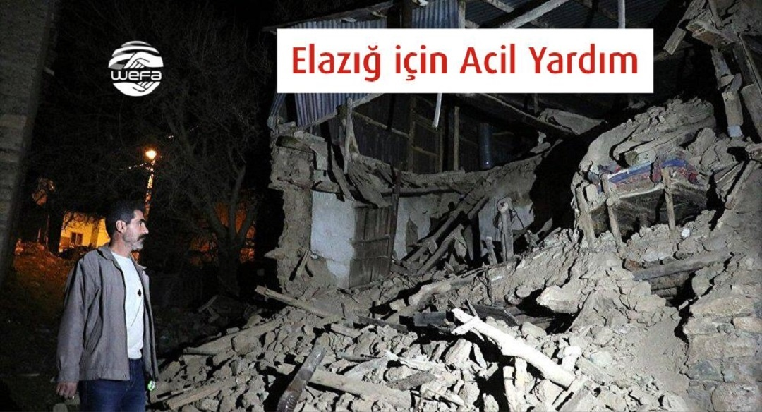 """Merkez üssü Elazığ'ın Sivrice ilçesi olan 6,8 büyüklüğünde bir deprem meydana geldi. Depremin ardından """"Acil Yardım"""" kampanyası başlatan WEFA Uluslararası İnsani Yardım Organizasyonu bölgeye hareket etti."""