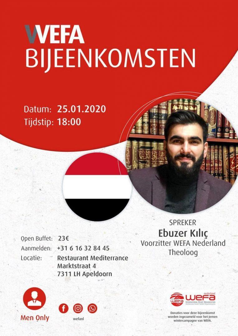 Zaterdag 25 januari organiseert WEFA Nederland een buffet/diner waarbij onze voorzitter Ebuzer Kılıç zal gaan spreken.