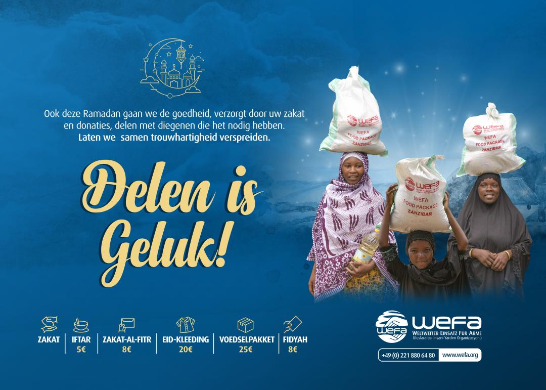 """In de gezegende maand Ramadan zal WEFA weer proberen een glimlach te brengen aan behoeftigen. Gebaseerd op het principe van delen, streeft WEFA om alle regio's van de slachtoffers te bereiken. Dit jaar is de slogan """"delen is geluk"""""""