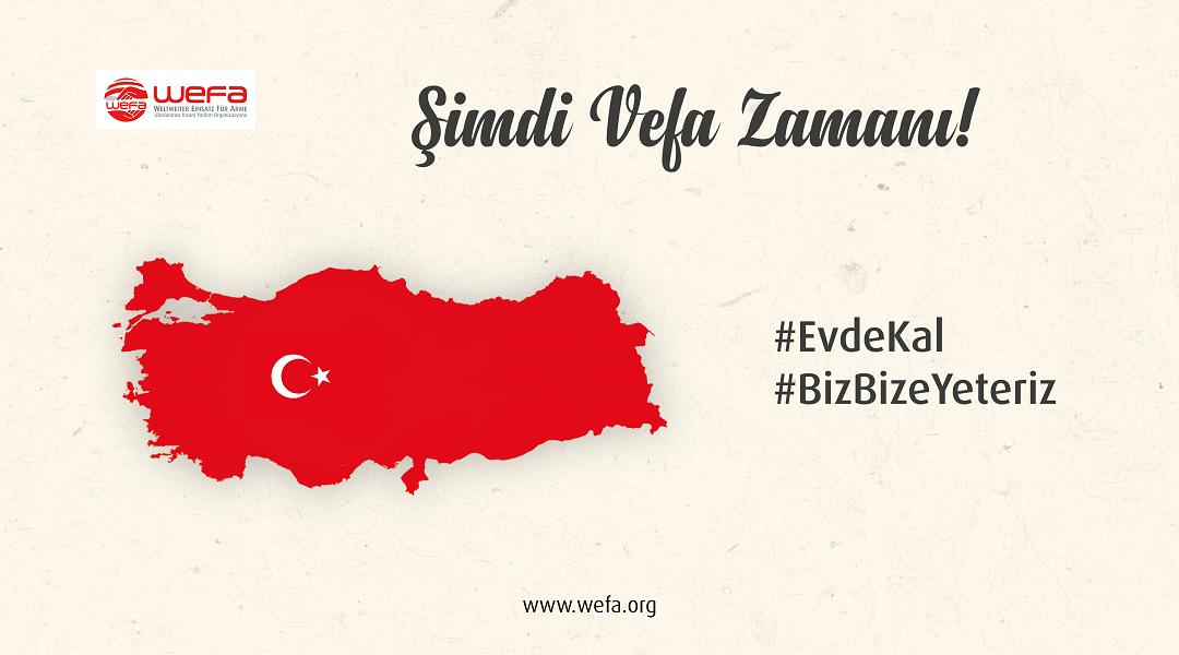 Türkiye'de de etkisini gösteren koronavirüs salgını nedeniyle sokağa çıkamayan 65 yaş ve üstü ile kronik rahatsızlığı olanlar ve işini kaybeden ihtiyaç sahipleri için WEFA Uluslararası İnsani Yardım Organizasyonu yardım kampanyası başlattı.
